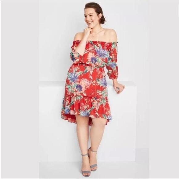 c7cd021ae522 Ava   Viv Dresses   Skirts - AVA VIV Off The Shoulder Red Floral Summer  Dress